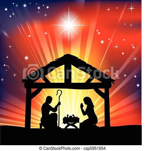 Traditionelle christliche Weihnachts-Nativitätsszene - csp5951654