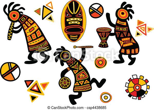 vector afrikanische traditionelle muster  tanzmusiker