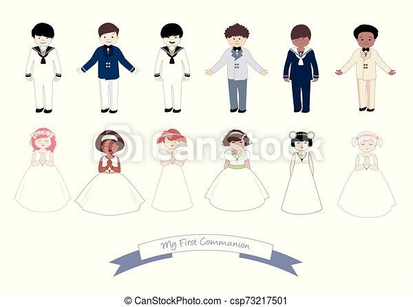 tragen, sechs, mädels, sammlung, kommunion, zuerst, kinder, kleidung - csp73217501