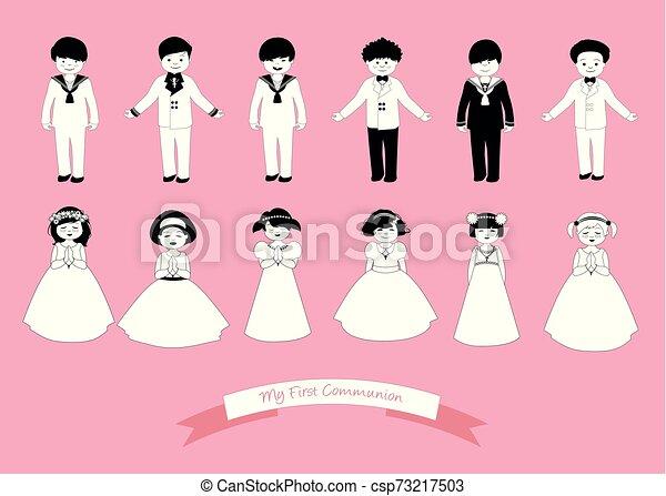tragen, sechs, mädels, sammlung, kommunion, zuerst, kinder, kleidung - csp73217503