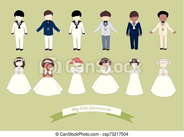 tragen, sechs, mädels, sammlung, kommunion, zuerst, kinder, kleidung - csp73217504