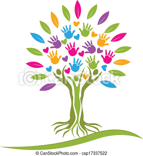 Tree colorful hands and hearts logo. - csp17337522