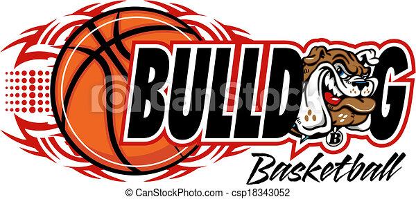 Tribal Basketball mit Bulldog. - csp18343052