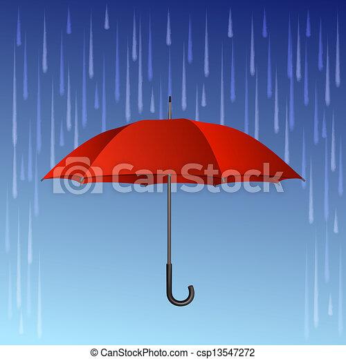 Roter Regenschirm und Regentropfen - csp13547272