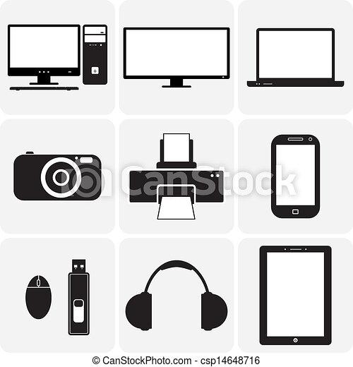 Tv, Computer, Kamera, Laptop, Notizbuch und andere elektronische Geräte. Diese grafischen Illustrationen sind einfache Ikonen (symbol) digitaler Geräte in Schwarz-Weiß - csp14648716