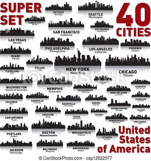 Unglaubliche Skyline der Stadt. Vereinigte Staaten von Amerika. - csp12022077