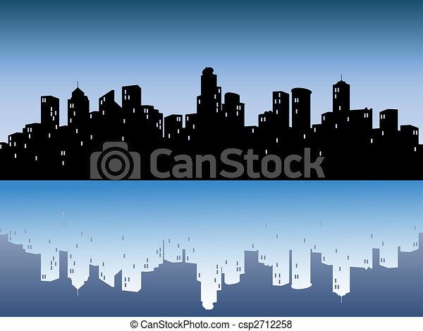 Urban Skylines mit Reflexion - csp2712258
