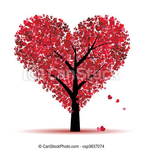 Valentinstag, Liebe, Blatt aus Herzen - csp3637074