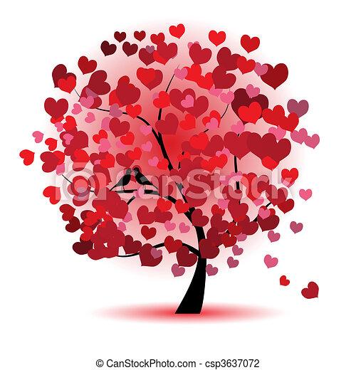 Valentinstag, Liebe, Blatt aus Herzen - csp3637072