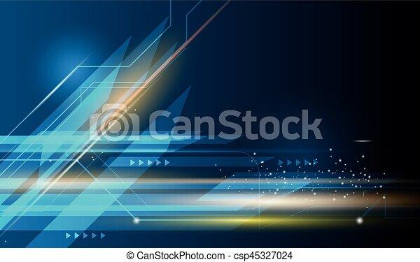 Vector Abstract Geschwindigkeit und Bewegungsunschärfe über dunkelblauem Hintergrund - csp45327024