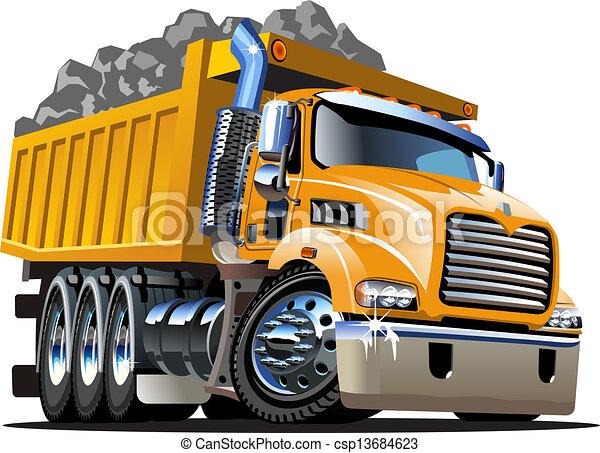 Vector Cartoon Müllwagen - csp13684623