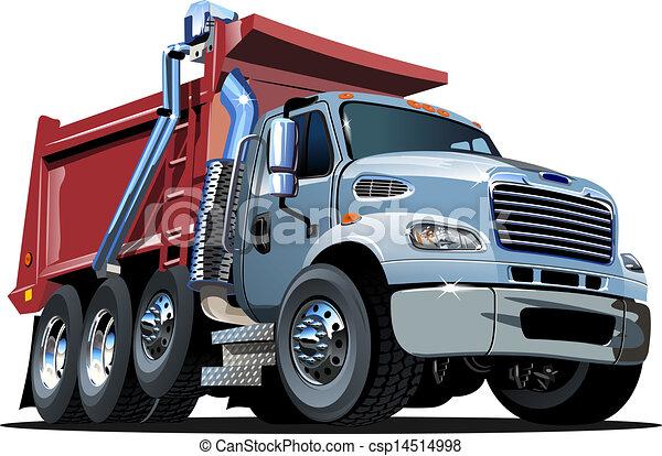 Vector Cartoon Müllwagen - csp14514998
