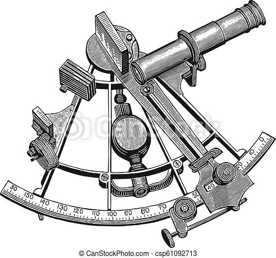Vector High Detail Sextant Gravur. - csp61092713