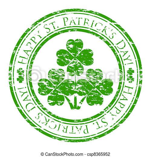 Vector illustrator eines grunge Gummistempels mit vier Blätter Klee und Text (Happy St. Patrick's day written inside the stamp) isoliert auf weißem Hintergrund - csp8365952
