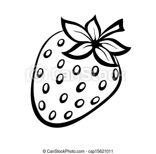 Vector Monochrome illustriert das Erdbeer-Logo. - csp15621011