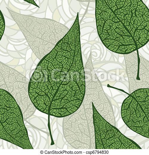 Vector nahtlos alte grüne Blätter - csp6794830