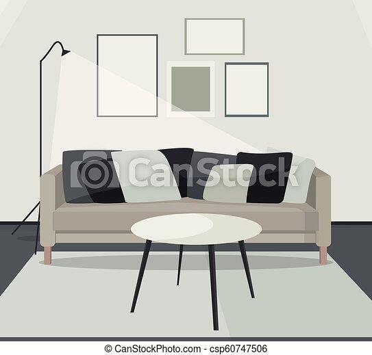 Vector Wohnzimmer Illustration - csp60747506