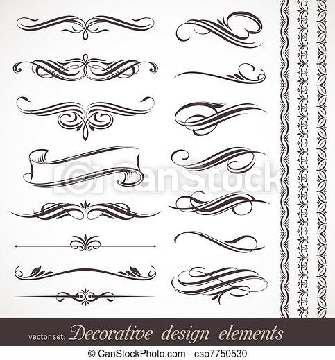 Vektor-Dekorative Elemente &seitige Deko - csp7750530