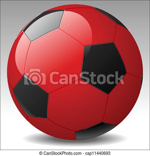 vektor, fußball ball, rotes  - csp11440693