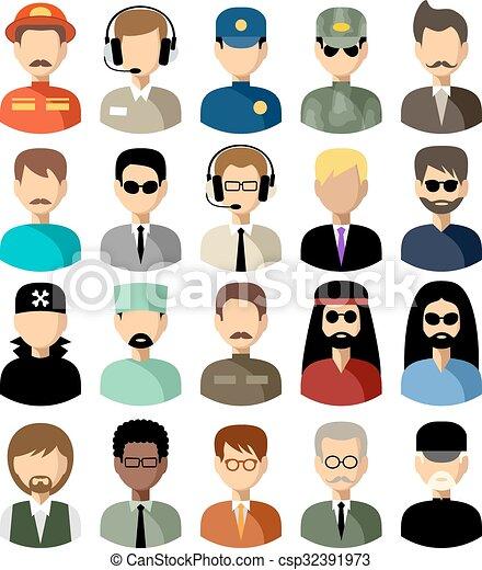 Set von flachen Ikonen mit Männern. Vector Illustration - csp32391973