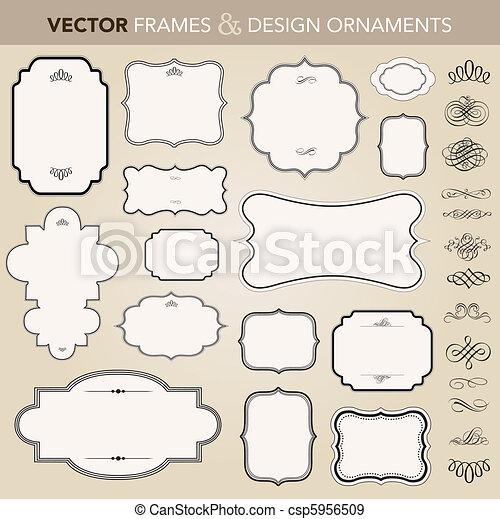 Vektor-Ornate-Rahmen und Zierde-Set - csp5956509
