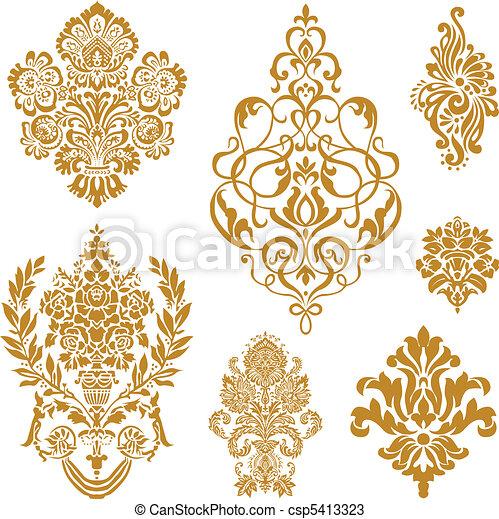 Vector gold damask ornament set - csp5413323