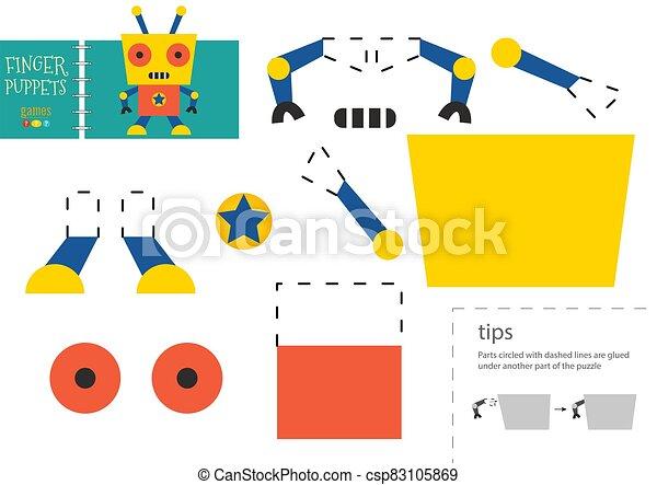 vektor, schneiden papier, lustiges, zeichen, robotic, klebstoff, pappe, modell, toy., freisteller - csp83105869