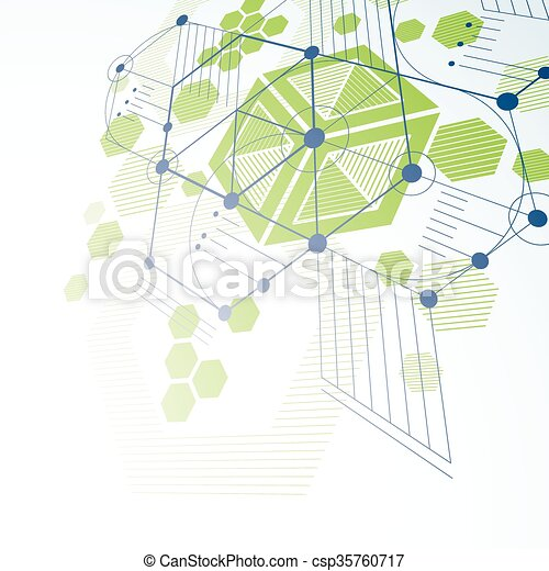 Bauhaus Art Dimensionskomposition, Perspektive grüne, modulare Vektor Tapete mit Honigwaben. Retro-Stilmuster, grafischer Hintergrund für die Verwendung als Booklet Cover Vorlage. - csp35760717
