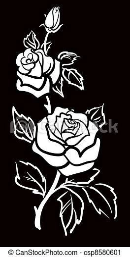 Vektorgrafische Kunst der Rose-Blume w - csp8580601