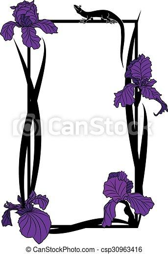 Vektorrahmen mit Iris und Eidechse. - csp30963416