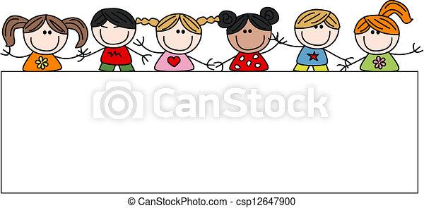 Vermischte ethnisch glückliche Kinder. - csp12647900
