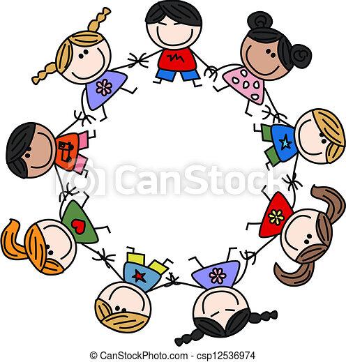 Vermischte ethnische Kinderfreundschaft. - csp12536974