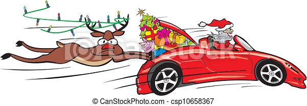 Verrückter Weihnachtsmann im Cabrio - csp10658367