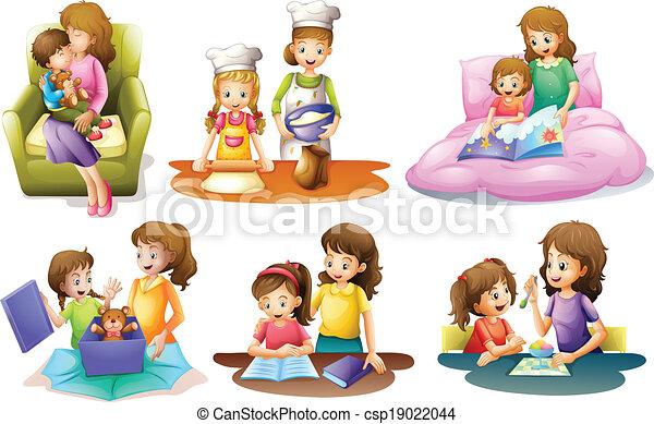 Verschiedene Aktivitäten einer Mutter und eines Kindes. - csp19022044