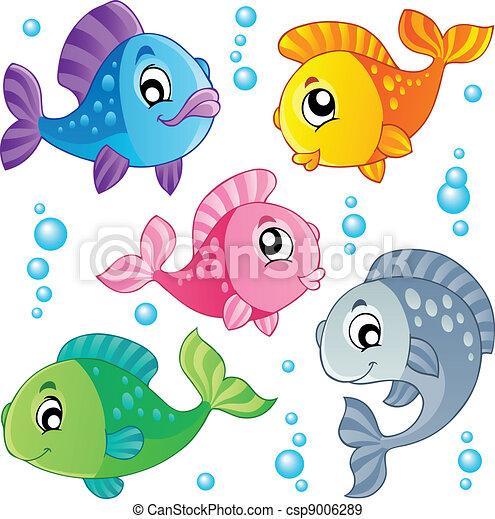 Verschiedene süße Fische sammeln drei - csp9006289