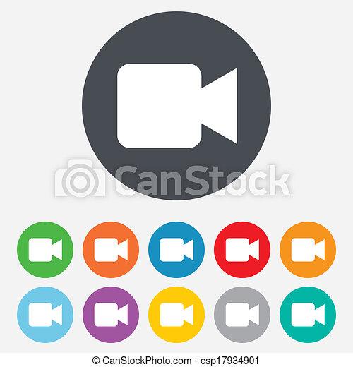 Videokamera-Symbol. Video Content Button. - csp17934901