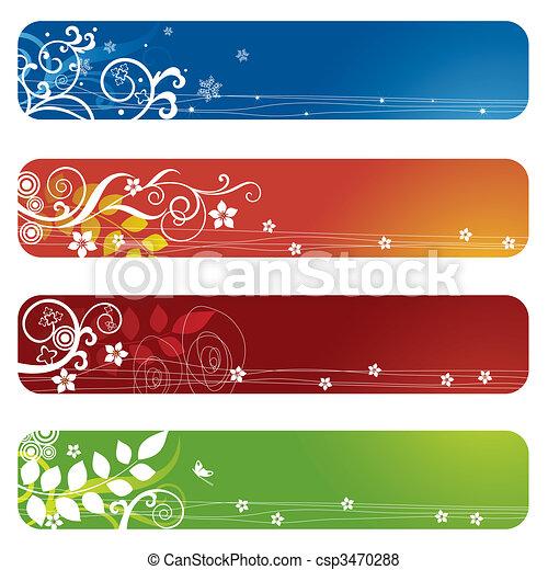 Vier Leuchtbanner oder Lesezeichen - csp3470288