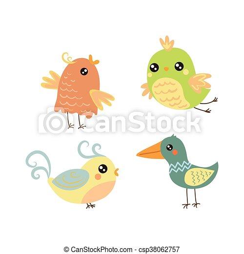 Vier süße kleine Vögel. - csp38062757