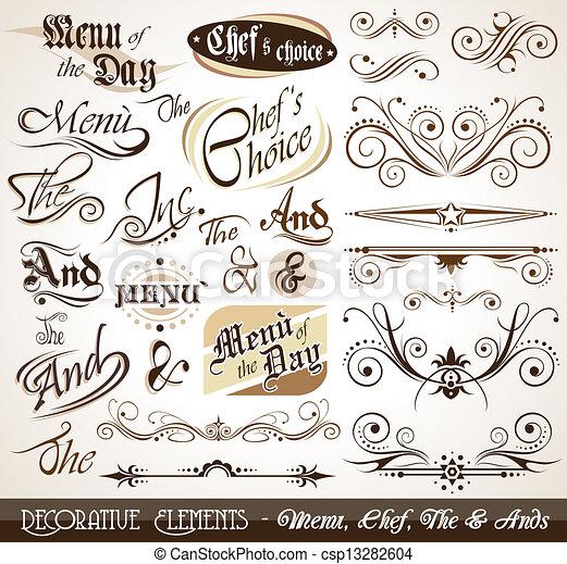 Vintage dekorative kaligrafische Elemente. - csp13282604