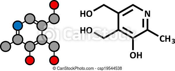 Vitamin B6 (Pyridoxin) Molekül. - csp19544538