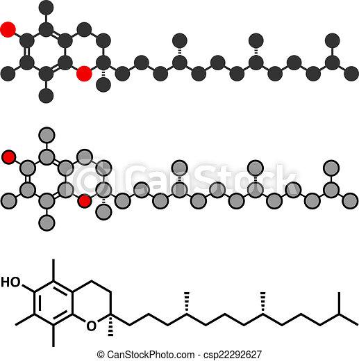 Vitamin E (Alpha Tocopherol) Molekül. Stylisierte 2D Rendering und konventionelle Skelettformel. - csp22292627