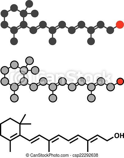 Vitamin ein (Retinol) Molekül. Stylisierte 2D Rendering und konventionelle Skelettformel. - csp22292638