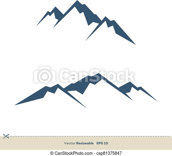 vulkan, schablone, design, vektor, logo, abbildung, berg - csp81375847