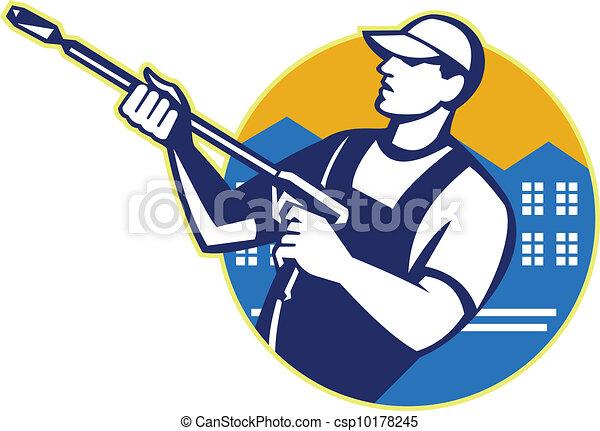 wäsche, macht, blaster, arbeiter, wasserdruck - csp10178245