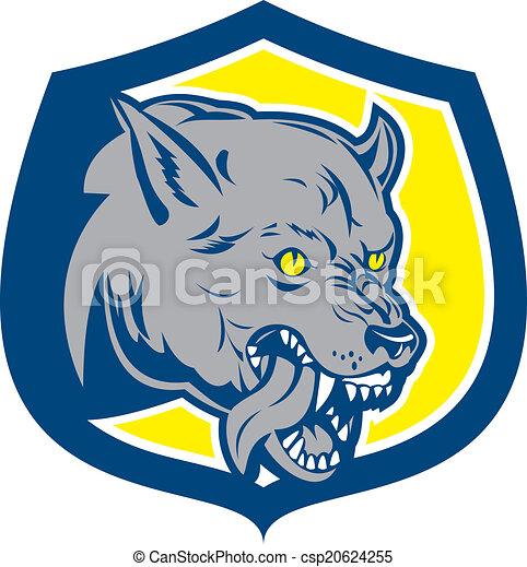 Wütend Wolf wilder Hundekopf Schild Retro. - csp20624255