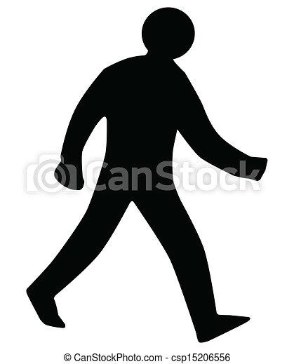 Walking Man Silhouette. - csp15206556