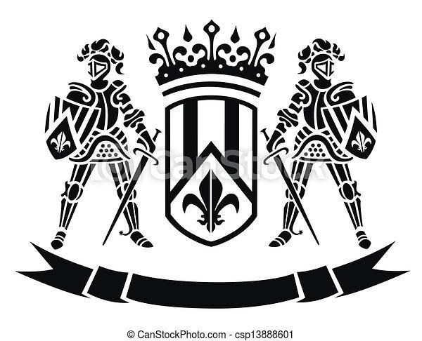 Wappen mit Rittern. - csp13888601