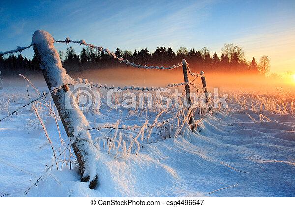 Warm kalter Winteruntergang - csp4496647