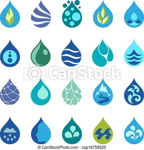 Wassertropfen-Ikonen und Designelemente. - csp16758520