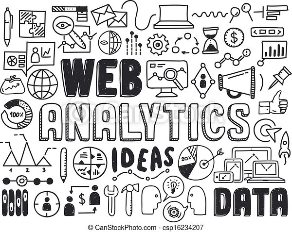 Web-Analytik-Doodle-Elemente - csp16234207